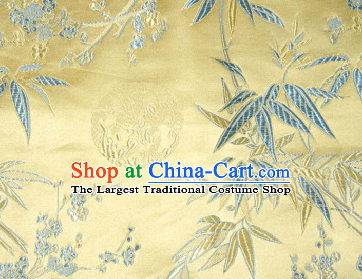 Asian Traditional Royal Plum Blossom Bamboo Pattern Design Golden Satin Material Chinese Tang Suit Brocade Silk Fabric