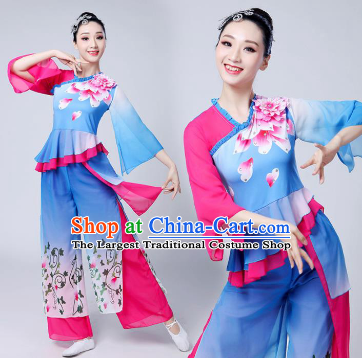 Chinese Traditional Group Dance Yangko Costumes Stage Performance Folk Dance Blue Clothing for Women