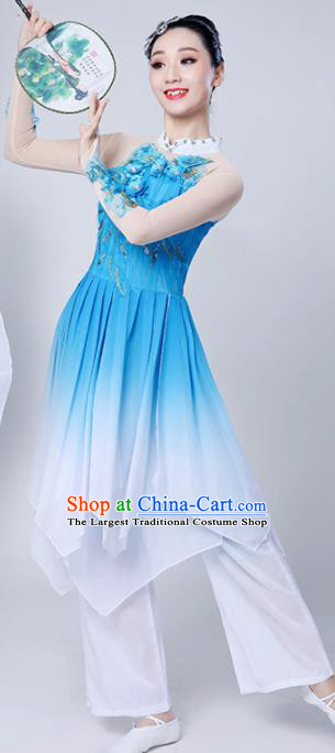 Chinese Traditional Classical Dance Costumes Stage Performance Dance Blue Dress for Women