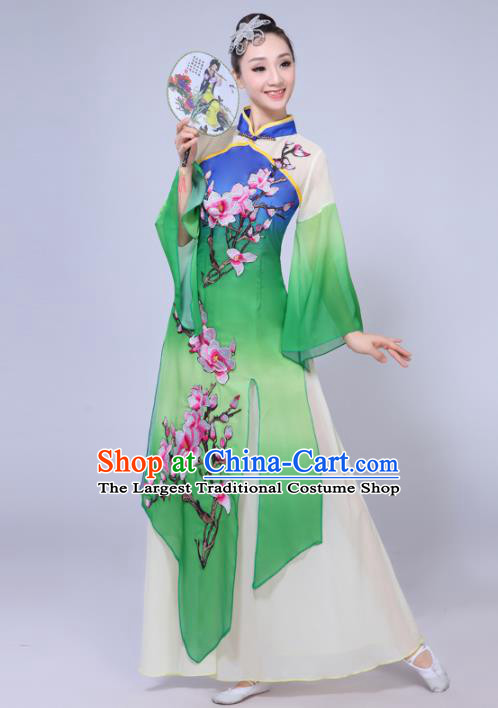Chinese Traditional Classical Dance Costumes Stage Performance Umbrella Dance Green Dress for Women