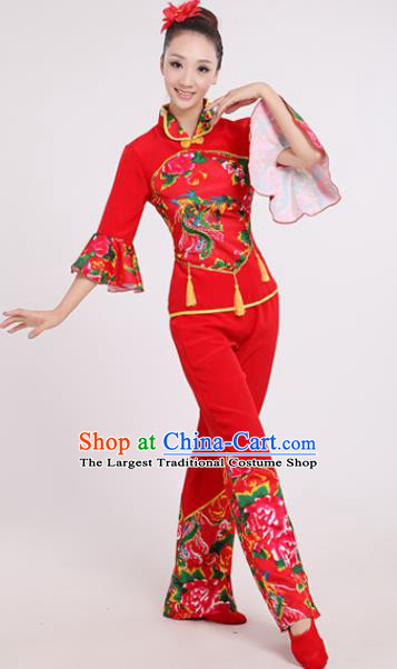Chinese Traditional Yangko Dance Village Girl Red Costumes Group Dance Folk Dance Clothing for Women