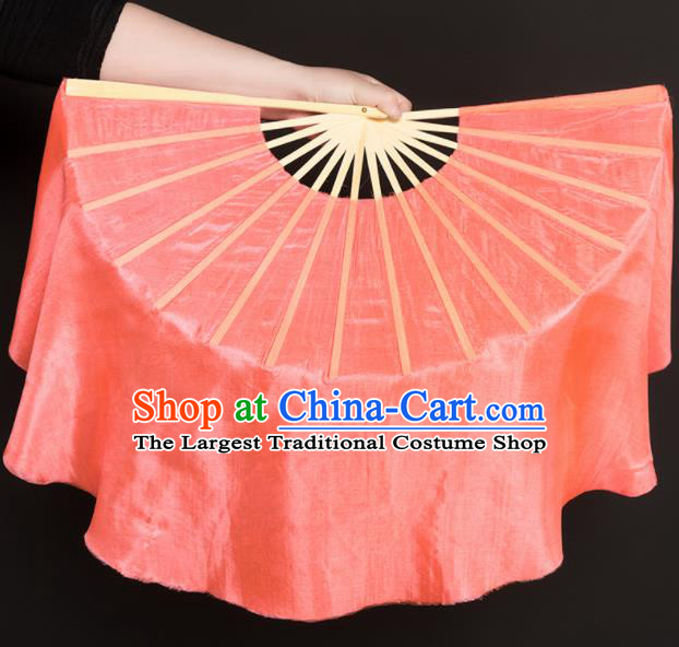 Chinese Traditional Folk Dance Props Orange Silk Fans Folding Fans Yangko Fan