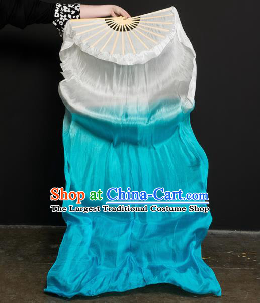 Chinese Traditional Folk Dance Props White and Blue Ribbon Silk Fans Folding Fans Yangko Fan