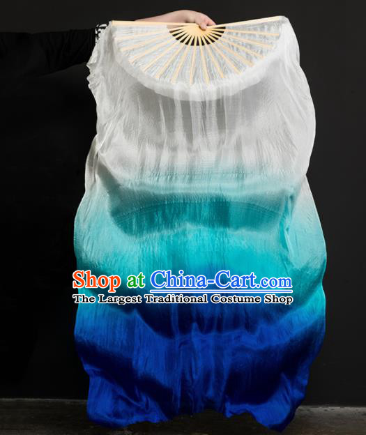 Chinese Traditional Folk Dance Props Gradient Blue Ribbon Silk Fans Folding Fans Yangko Fan