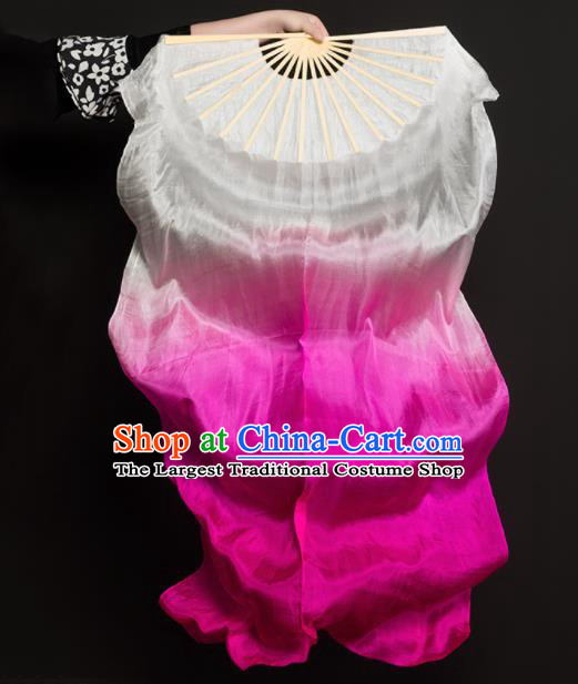 Chinese Traditional Folk Dance Props White and Pink Ribbon Silk Fans Folding Fans Yangko Fan