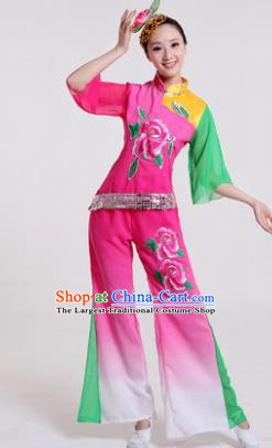 Chinese Traditional Yangko Dance Costumes Group Dance Folk Dance Pink Clothing for Women