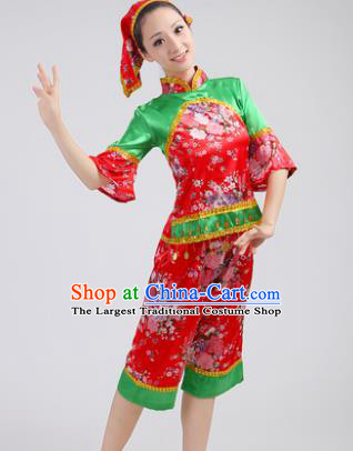 Chinese Traditional Yangko Dance Red Costumes Group Dance Folk Dance Clothing for Women