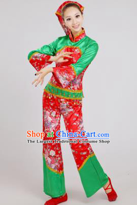 Chinese Traditional Yangko Dance Village Girl Costumes Group Dance Folk Dance Clothing for Women