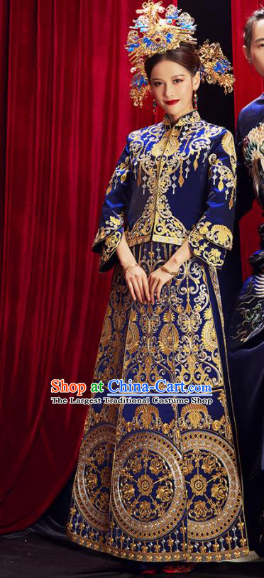 Chinese Traditional Wedding Blue Xiuhe Suits Ancient Bride Embroidered Costumes for Women