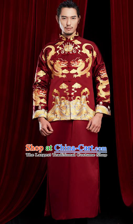 Chinese Traditional Wedding Costumes Tang Suit Bridegroom Embroidered Wine Red Clothing for Men