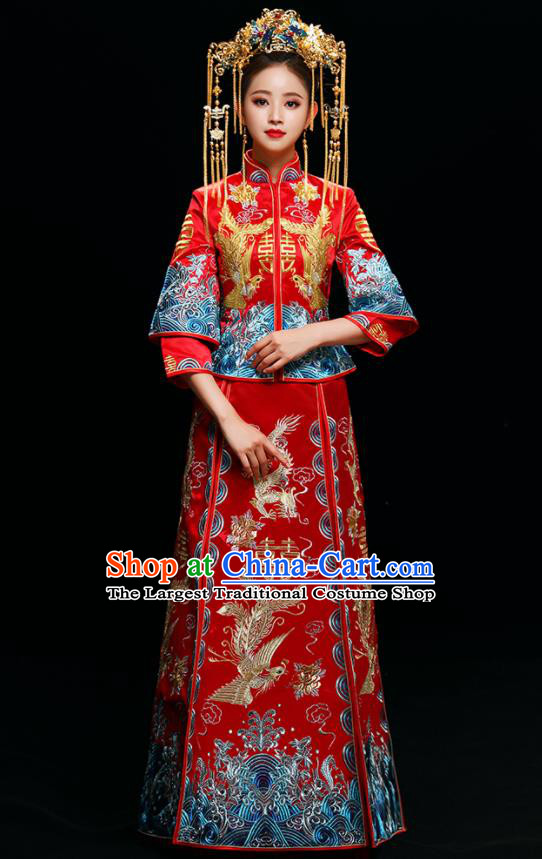 Chinese Traditional Wedding Toast Xiuhe Suits Ancient Bride Dress Embroidered Phoenix Costumes for Women
