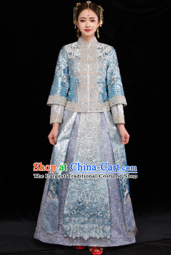 Chinese Traditional Wedding Toast Blue Xiuhe Suits Ancient Bride Handmade Embroidered Costumes for Women