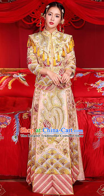 Chinese Traditional Wedding Dress Pink Xiuhe Suits Ancient Bride Handmade Embroidered Costumes for Women