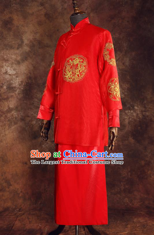 Chinese Ancient Traditional Wedding Costumes Bridegroom Tang Suit Red Gown for Men