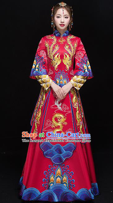 Chinese Traditional Wedding Dress Ancient Bride Xiuhe Suits Handmade Embroidered Costumes for Women