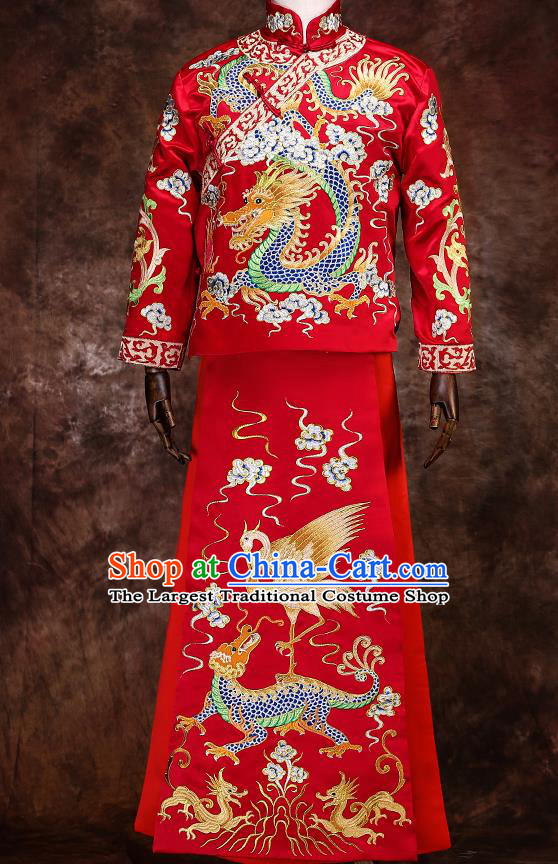 Chinese Traditional Wedding Costumes Mandarin Jacket Ancient Bridegroom Tang Suit Robe for Men