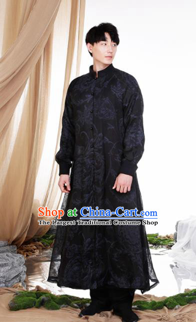 Chinese Traditional Tang Suit Costumes National Black Long Gown Overcoat for Men