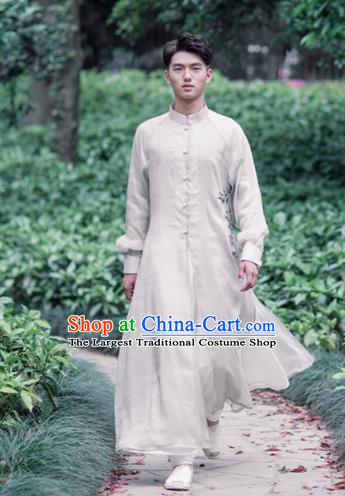 Chinese Traditional Tang Suit Costumes National White Long Gown Overcoat for Men