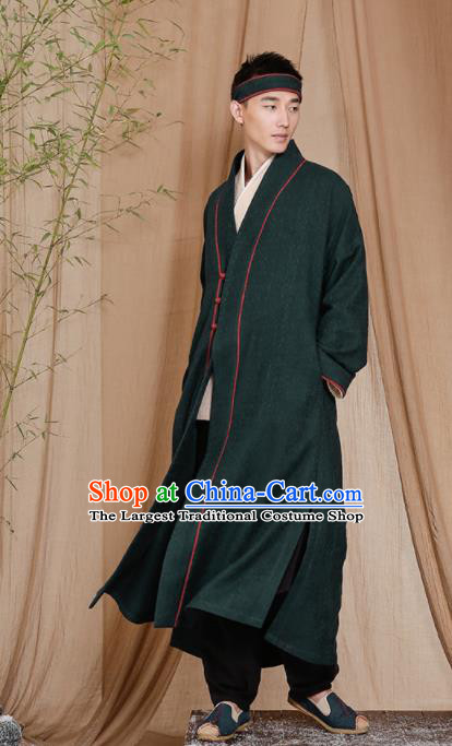 Chinese Traditional Tang Suit Costumes National Green Coat Overcoat for Men