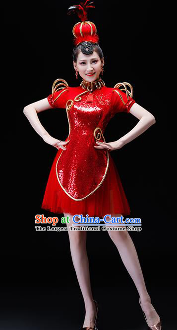 Chinese Traditional Folk Dance Costumes Drum Dance Group Dance Red Dress for Women