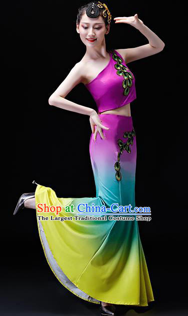 Chinese Traditional Folk Dance Costumes Peacock Dance Group Dance Purple Dress for Women