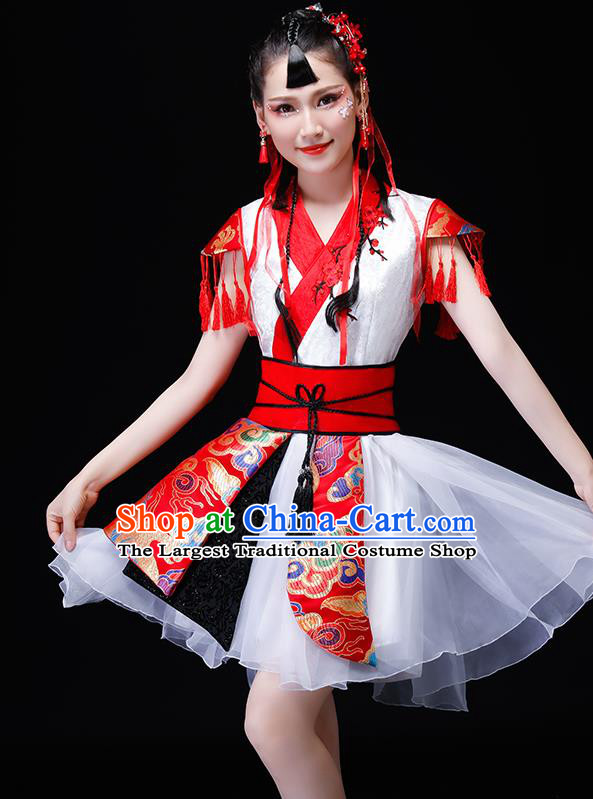 Chinese Traditional Folk Dance Costumes Drum Dance Group Dance White Dress for Women