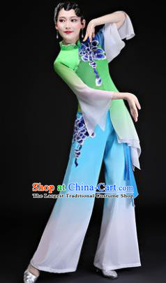 Chinese Traditional Folk Dance Costumes Yangko Dance Group Dance Green Clothing for Women