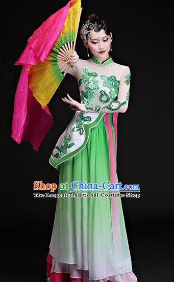 Chinese Traditional Classical Dance Costumes Umbrella Dance Group Dance Green Dress for Women