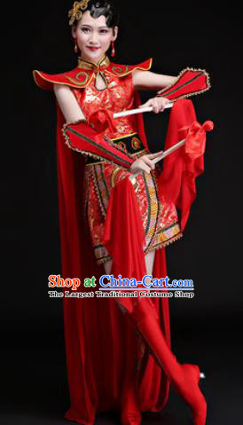 Chinese Traditional Folk Dance Yangko Costumes Drum Dance Group Dance Red Dress for Women