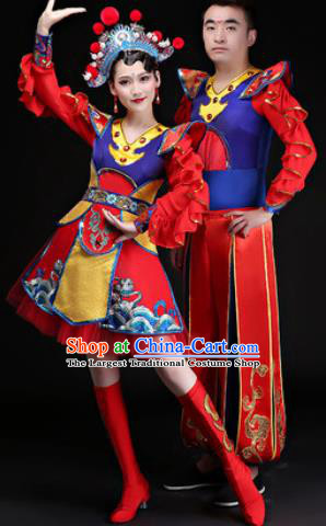 Chinese Traditional Folk Dance Costumes Drum Dance Group Dance Clothing for Women for Men
