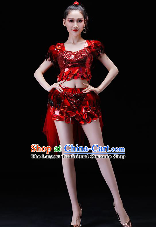 Professional Modern Dance Costumes Opening Dance Stage Show Red Clothing for Women
