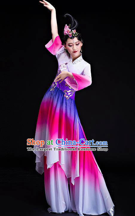 Chinese Traditional Classical Dance Costumes Umbrella Dance Group Dance Purple Dress for Women