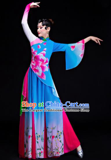 Chinese Traditional Folk Dance Yangko Costumes Drum Dance Blue Dress for Women