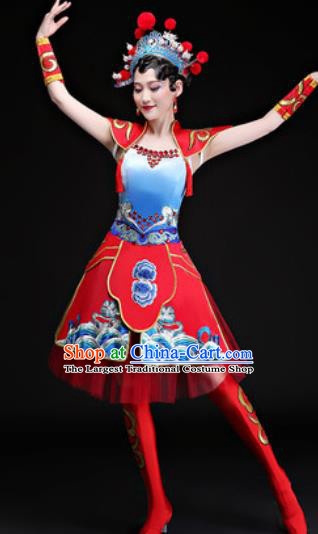 Chinese Traditional Folk Dance Yangko Group Dance Costumes Drum Dance Red Dress for Women