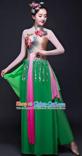 Chinese Traditional Classical Dance Lotus Dance Costumes Umbrella Dance Green Dress for Women