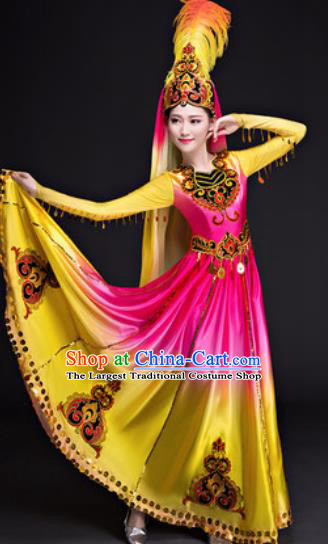 Chinese Traditional Uyghur Nationality Folk Dance Costumes Group Dance Dress for Women