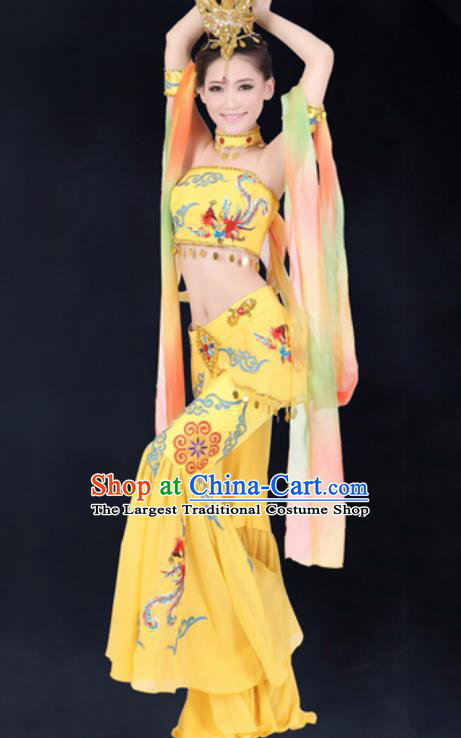 Chinese Traditional Umbrella Dance Costumes Classical Dance Dunhuang Flying Apsaras Dance Yellow Dress for Women
