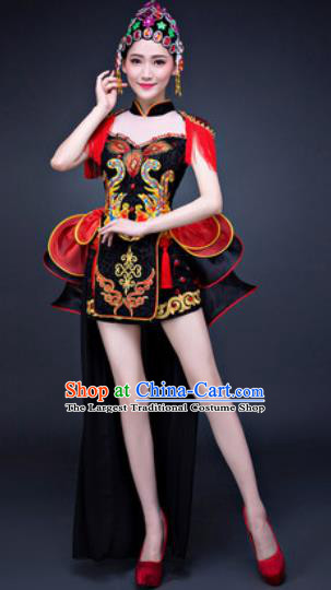Chinese Traditional Folk Dance Costumes New Year Drum Dance Black Dress for Women