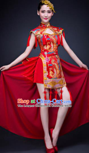 Chinese Traditional Folk Dance Costumes New Year Drum Dance Red Dress for Women
