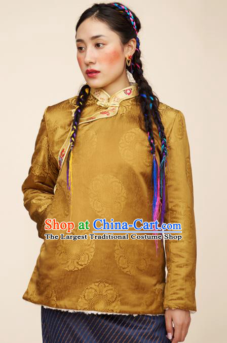 Traditional Chinese Zang Nationality Dance Costumes Ethnic Folk Dance Tibetan Golden Jacket for Women