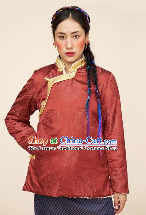 Traditional Chinese Zang Nationality Dance Costumes Ethnic Folk Dance Tibetan Red Jacket for Women