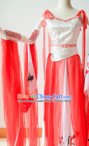 Traditional Chinese Han Dynasty Aristocratic Lady Costumes Ancient Cosplay Swordswoman Red Hanfu Dress for Women