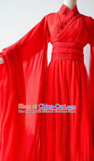 Traditional Chinese Han Dynasty Wedding Costumes Ancient Cosplay Swordswoman Red Hanfu Dress for Women