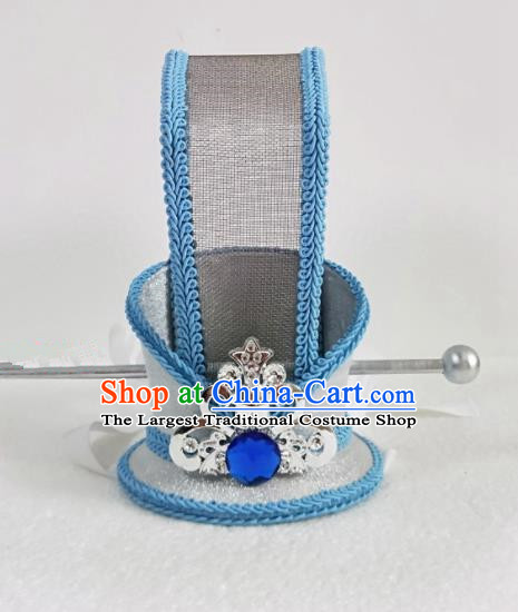Chinese Ancient Nobility Childe Hair Accessories Han Dynasty Bridegroom Blue Headwear for Men