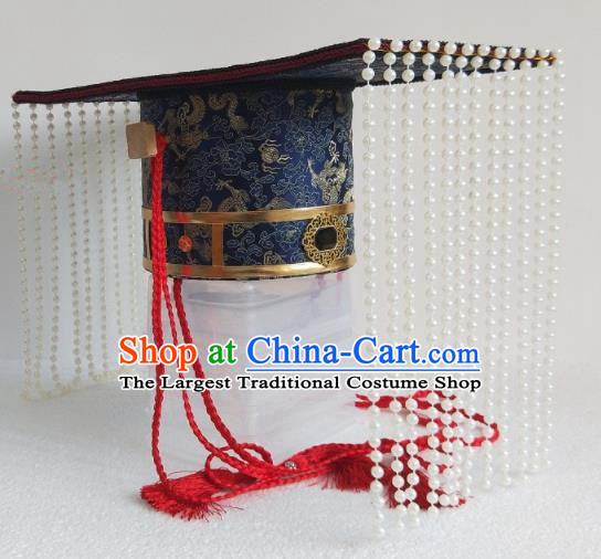 Chinese Ancient Emperor Hair Accessories Han Dynasty King Blue Hat Headwear for Men