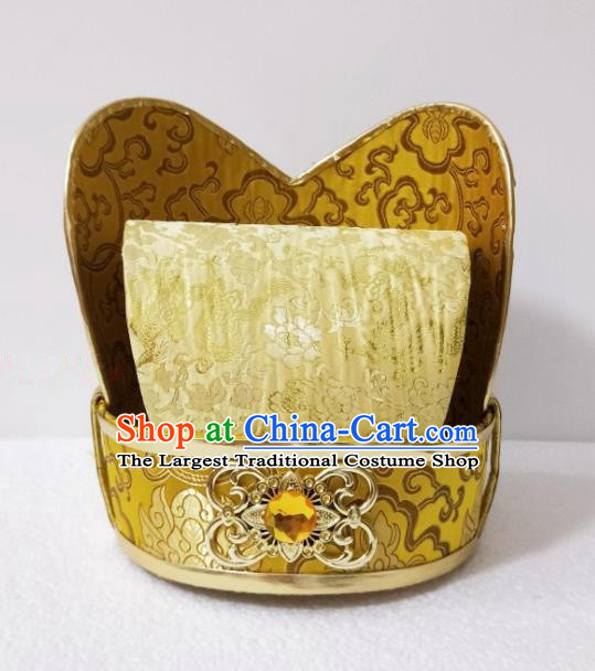 Chinese Ancient Emperor Hair Accessories Tang Dynasty King Golden Hat Headwear for Men