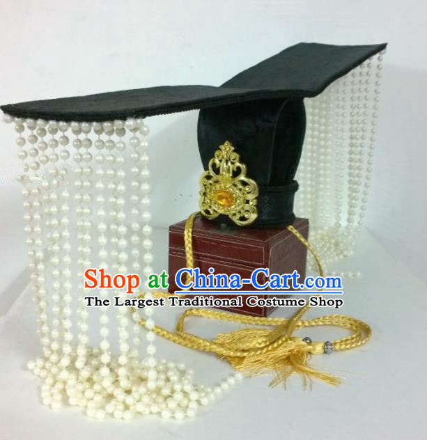 Chinese Ancient Emperor Hair Accessories Qin Dynasty Imperator Tassel Hat Headwear for Men