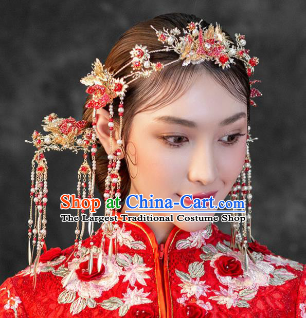 Chinese Ancient Wedding Hair Accessories Bride Red Pomegranate Phoenix Coronet Hairpins Headwear for Women