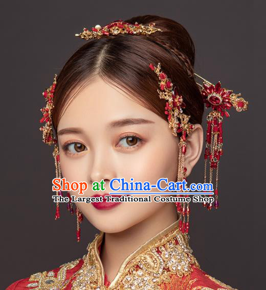 Chinese Ancient Wedding Hair Accessories Bride Red Tassel Hairpins Headwear for Women