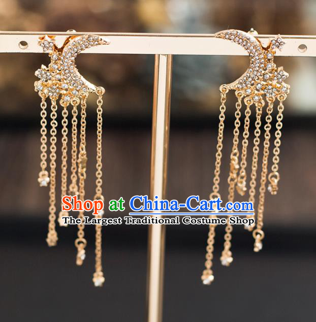 Handmade Wedding Golden Crystal Moon Ear Accessories Top Grade Bride Hanfu Earrings for Women